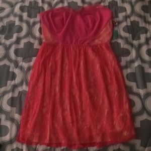 Adorable bright pink lace dress